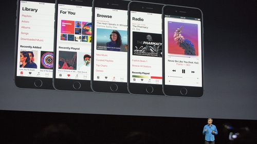 Eddy Cue on stage at Apple's Worldwide Developer Conference this week