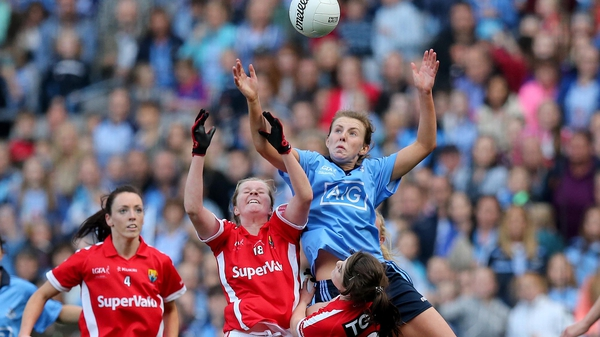 Cork's Marie Ambrose and Roisin Phelan battle for possession during last September's All-Ireland Ladies SFC final