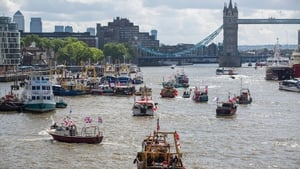 The 'Fishing for Leave' was met by rival boats backing a 'Remain' vote on the River Thames