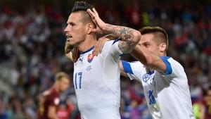 Marek Hamsik celebrates his superb goal against Russia