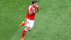 Admir Mehmedi celebrates Switzerland's equaliser