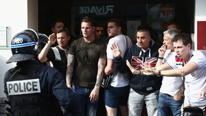 England fans retreat from police in Lille