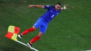 Dimitri Payet celebrates scoring against Albania