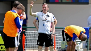O'Neill directs his Northern Ireland players at a recent training session in France