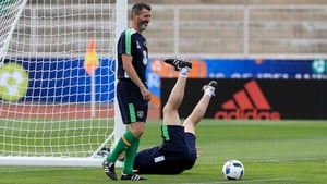 Roy Keane was in good spirits at Ireland's training camp in Versailles, with goalkeeping coach Seamus McDonagh providing plenty of light relief with his dramatic tumble