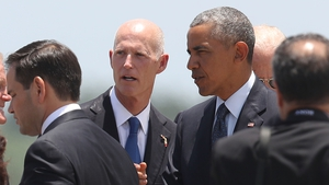 Barack Obama arriving at Orlando International Airport
