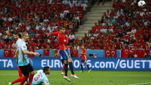 Alvaro Morato scored twice for Spain in their Euro 2016 clash with Turkey