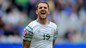 Robbie Brady shows his frustration as the game gets away from Ireland