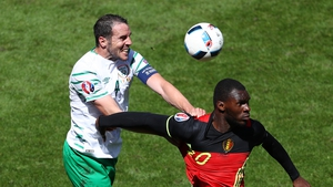 John O'Shea in action for Ireland against Belgium at last year's Euros in France