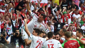 Hungary players celebrate their late leveller