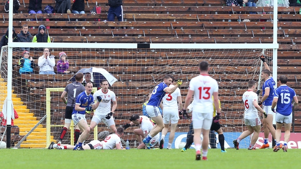 David Givney celebrates scoring the first of his two goals for Cavan