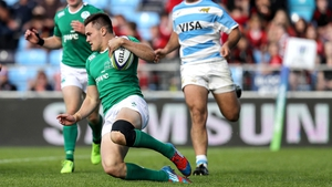 Jacob Stockdale crosses over for his second and Ireland's third try of the contest.