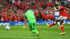 Neil Taylor scores the second goal for Wales
