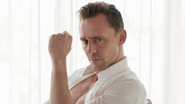 Tom Hiddleston smoulders for W Magazine, image via W Magazine/Twitter