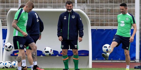 James McClean (L), Roy Keane (C) and Robbie Keane