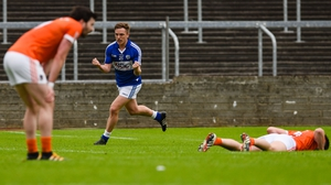 Laois forward Ross Munnelly celebrates what he thought was the winning score against Armagh