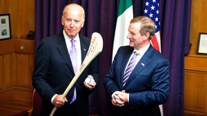 'This is a dangerous game', Joe Biden jokes after Enda Kenny presented him with a hurley and a sliotar