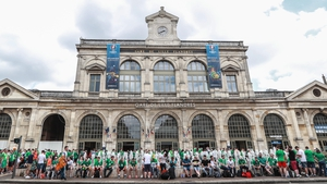 All aboard the Irish express... Ireland fans outside the station in Lille