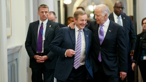 Enda Kenny and Joe Biden at the Taoiseach's office shortly after the vice-president's arrival on Tuesday