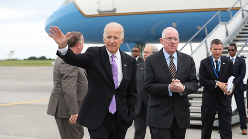 Joe Biden is welcomed by Minister for Foreign Affairs Charlie Flanagan