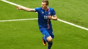Iceland's Jon Dadi Bodvarsson celebrates opening the scoring against Austria