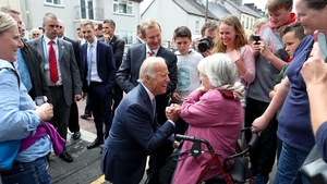 Mr Biden spent time chatting to people during his walkabout in Ballina