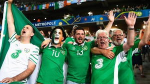 The Ireland fans in full voice