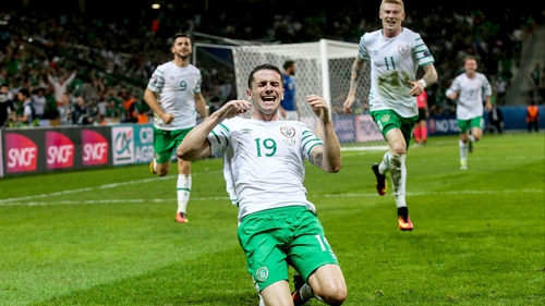 Robbie Brady celebrates his historic winner over Italy at the Stade Metropole in Lille