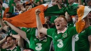 Ireland fans celebrate Brady's goal