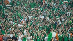 The Ireland fans go wild