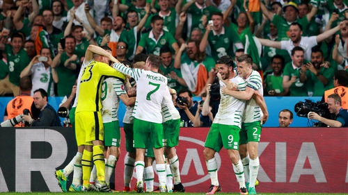 Ireland's players celebrate at the final whistle