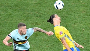 Toby Alderweireld vies for the ball against Zlatan Ibrahimovic