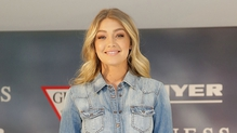 Model Gigi Hadid doing double denim in Sydney