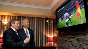Joe Biden joins Taoiseach Enda Kenny in cheering on the Republic of Ireland during their Euro 2016 clash with Italy