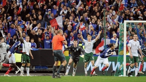 Irish players show their frustration after France drew level in that play-off