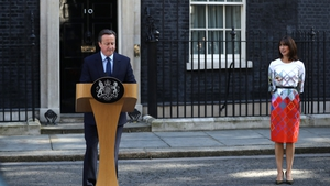 Mr Cameron announces his resignation as his wife Samantha Cameron looks on