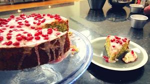 Lemon Drizzle Cake, Poppy & Pomegranate Seeds