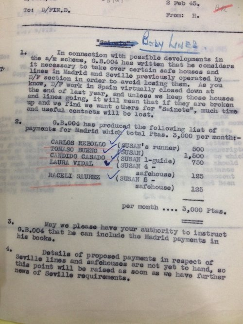 Secret memo on escape lines through Madrid detailing a safehouse operated by Susan, which could have been a codename for Margaret Kearney Taylor's Embassy Tearoom