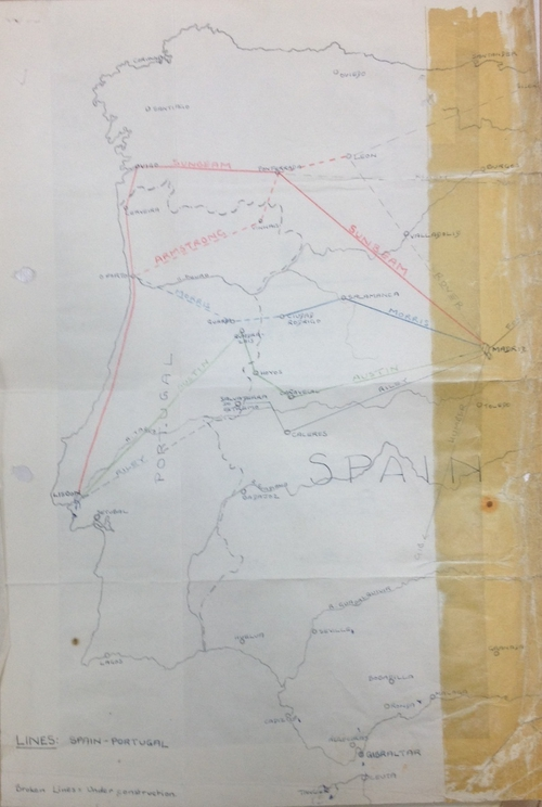 British Secret Service map of escape lines through Spain during World War II, the routes are named after motor cars of the period, e.g. Armstrong, Austin, Morris, Sunbeam