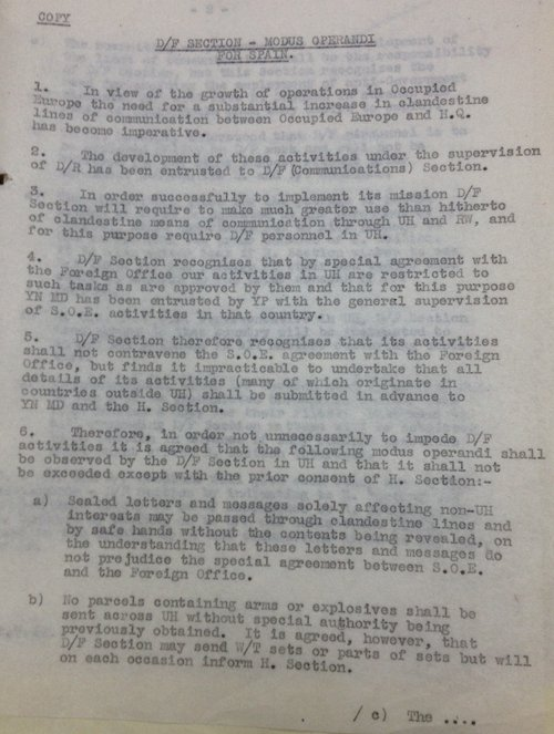 British Government memo about the Special Operations Executive in Spain during World War II