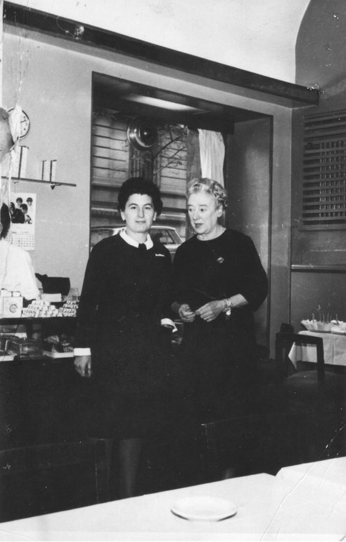 Margaret Kearney Taylor (right), owner of the Embassy Tearoom with a member of her staff