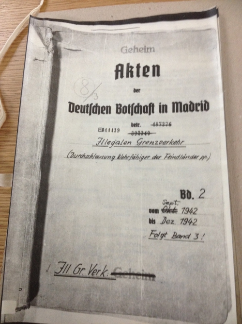 Nazi memo from Madrid during World War II