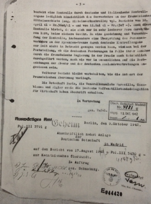 File from Nazis in Madrid which is kept at the National Archives in London