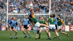 Colm O'Rourke and Keith Barr in action in Croke Park in 1991