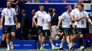 Republic of Ireland players stroll onto the Stade de Lyon pitch