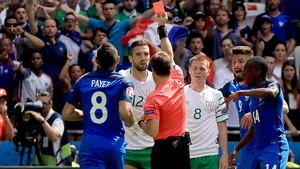 ... and receives a straight red card