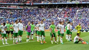 The Ireland players applaud their fans following the final whistle and their exit from Euro2016