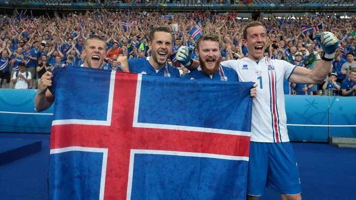 Celebrations in Iceland after victory over England in the Euros