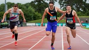 David Gillick (L) chases home Brian Gregan and Craig Lynch at Morton Stadium on Sunday