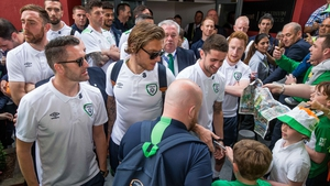 Robbie Keane, Jeff Hendrick and Robbie Brady meet supporters at Dublin Airport